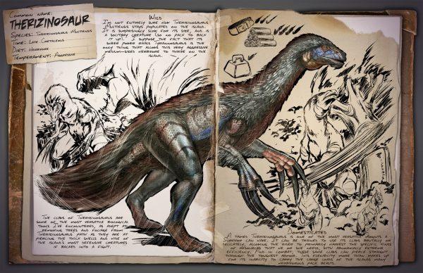 Name: Therizinosaur Spezies: Therizinosaurus Multiensis Zeit: Späte Kreidezeit Nahrung: Pflanzenfresser Temperament: