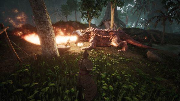 Conan Exiles Test PvE Kampf gegen einen Drachen