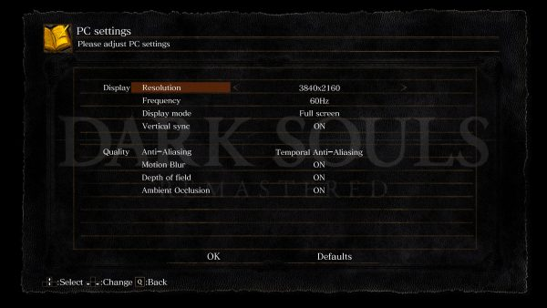 Dark Souls Remastered Test Graifk Settings