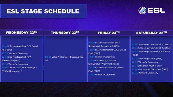 ESL Stage Schedule
