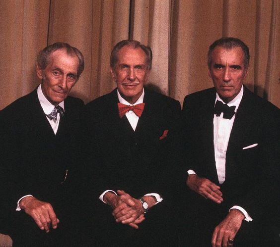 Drei Ikonen auf einem Bild: Peter Cushing, Vincent Price und Christopher Lee Quelle: Link