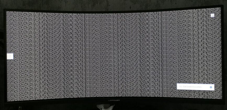 LC-Power LC-M34-UWQHD-144-C-V2 Monitortest Text Weiß auf Schwarz
